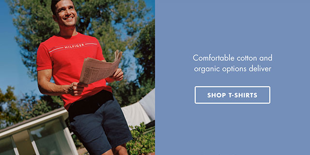 Comfortable cotton and organic options deliver - SHOP T-SHIRTS