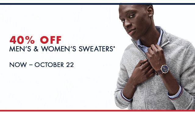 40% OFF MEN'S & WOMEN'S SWEATERS            Now - October 22